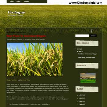 Prologue Blogger Template. template for green blog