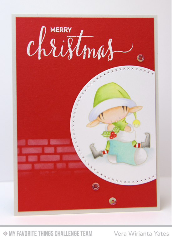 Merry Christmas Card by Vera Wirianta Yates featuring the Hand Lettered Holiday stamp set and the Birdie Brown Santa's Elves stamp set and Die-namics and the Cross-Stitch Circle STAX Die-namics #mftstamps