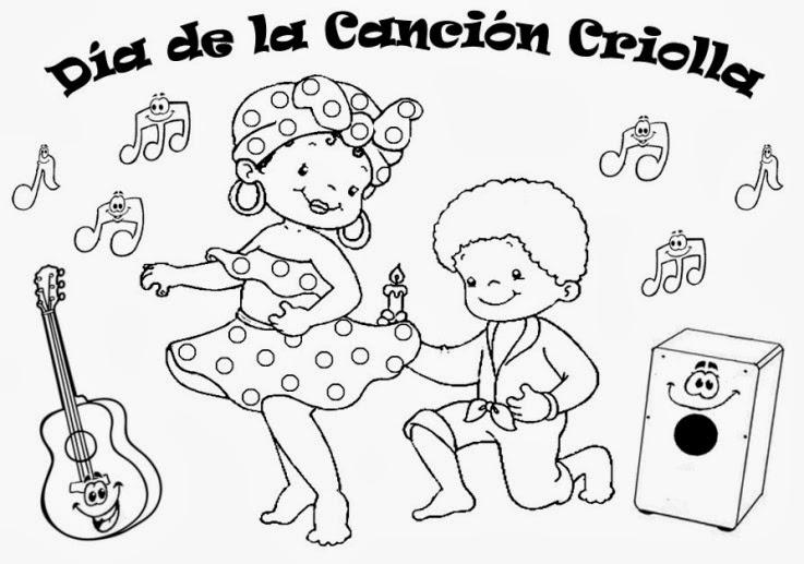 para educación inicial: DIBUJOS PARA DÍA DE LA CANCIÓN CRIOLLA