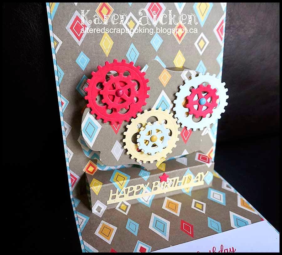 Elizabeth Craft Designs Stand Up Helpers : Altered scrapbooking pop up gears card