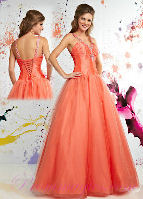 Tulle Orange Handmade Beading Prom Dresses Collection