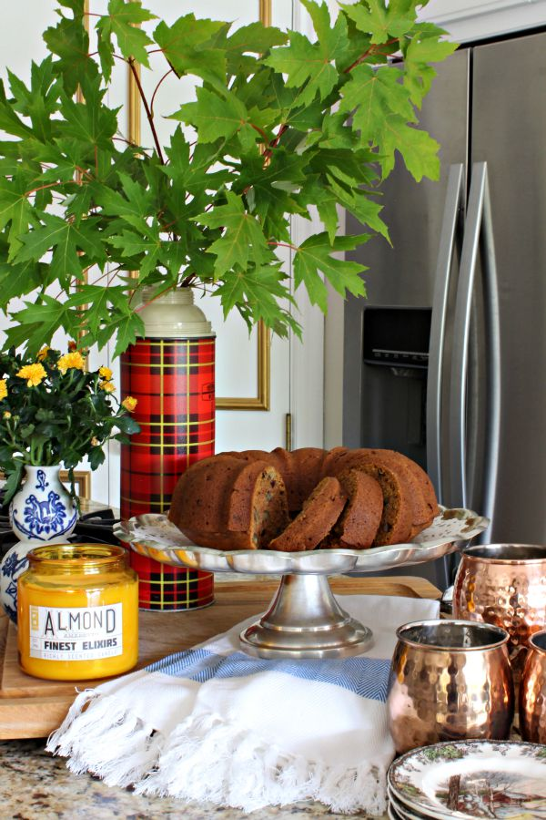 easy pumpkin bread with raisins and walnuts, vintage plaid thermos, blue and white