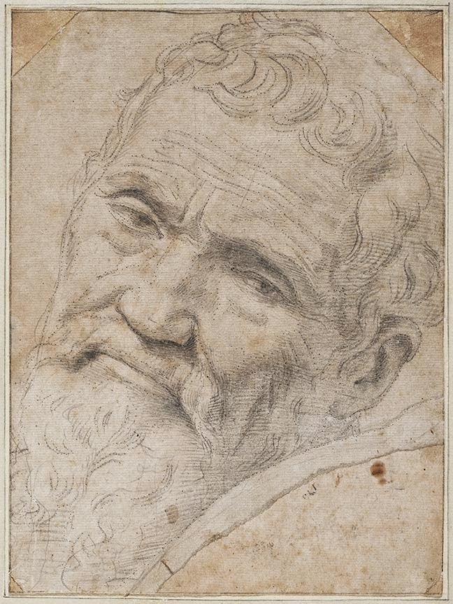 Self portrait of Michelangelo giving a disapproving look to the viewer.