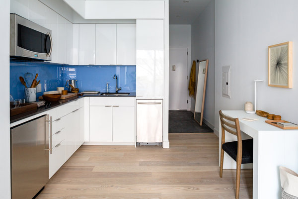 New York City micro apartment kitchen and dining area