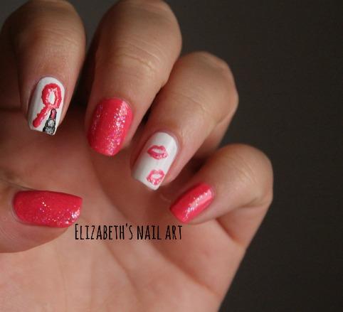 nail art pintalabios rosa