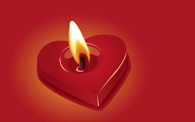 Rode 3D liefde afbeelding met een brandende kaars