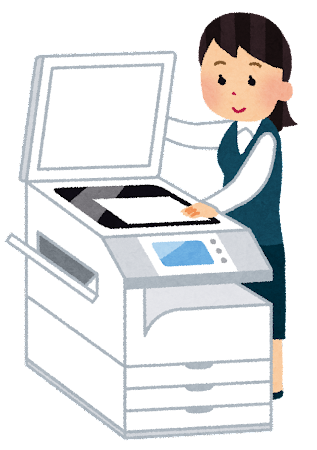コピー機を使う人のイラスト(女性)