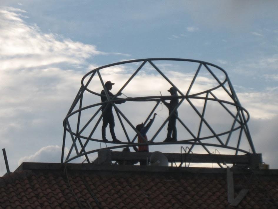 Pemasangan,Rangka,Struktur,Kubah,kremona,truss,dome,pipa,konstruksi,harga
