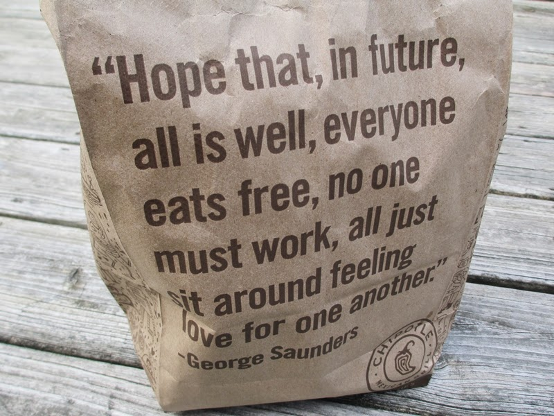 Chipotle Bag with George Saunders quote about free food