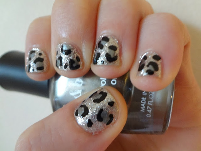 Silver leopard print nails, love & beauty polish, aka Bailey