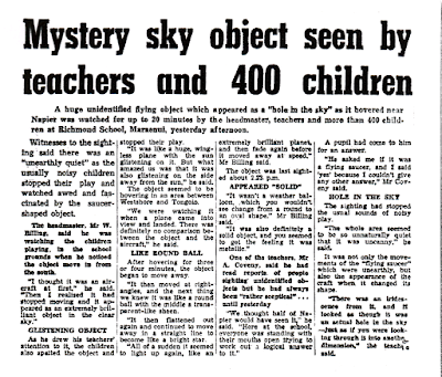 Mystery Sky Object Seen By Teachers and 400 Children - Napier Daily Telegraph (New Zealand) 5-7-1970