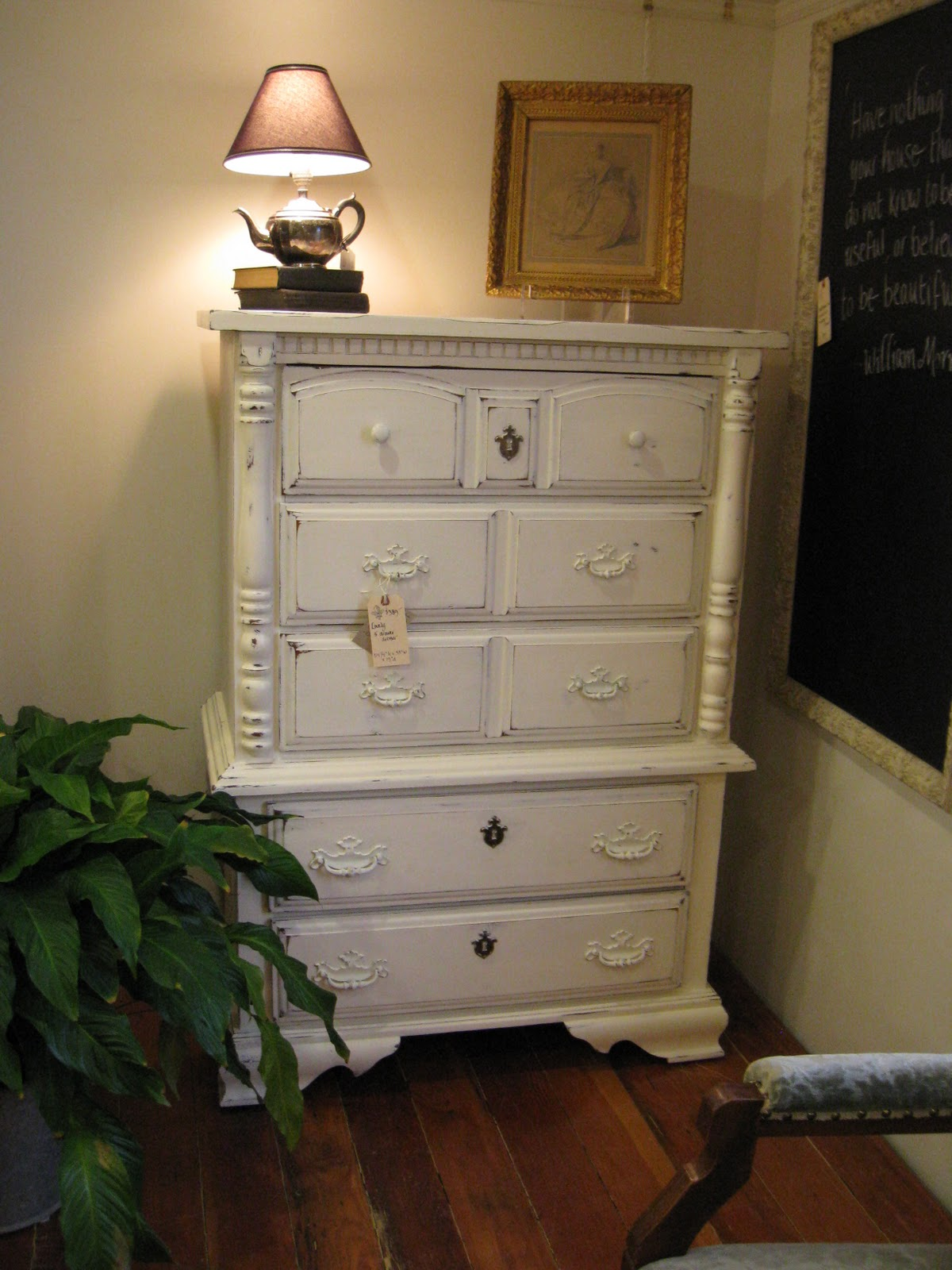 A French Touch Sold Old White Tall Boy Dresser