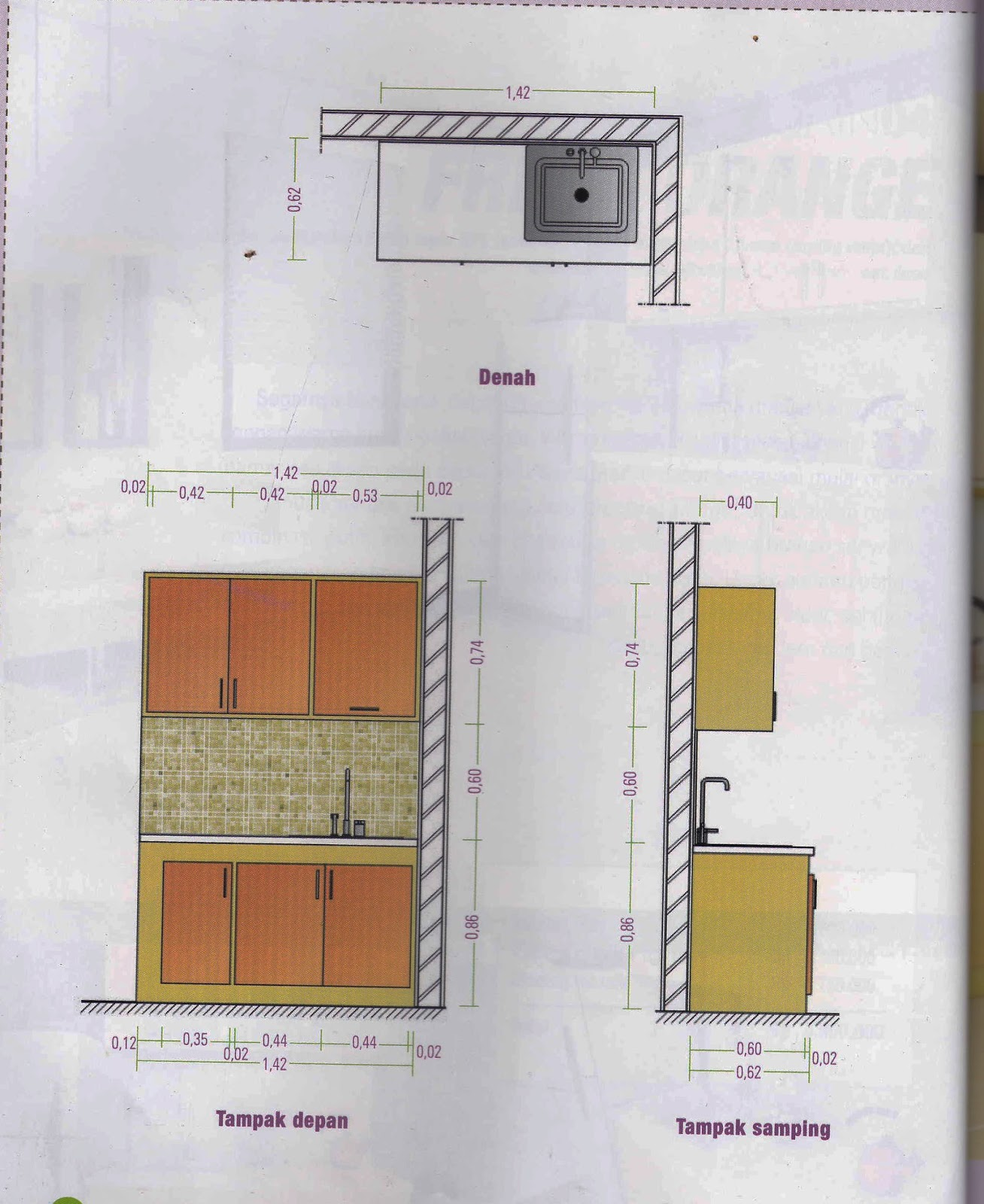Desain Kitchen Set Warna Orange Minimalis 4 95 Juta Untuk Dapur