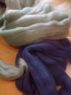 image of blue felting wool