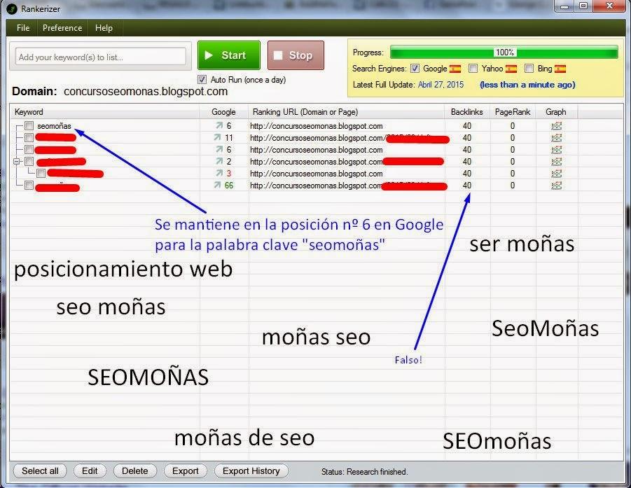 Posición en las SERPs del blog oficial de SeoMoñas