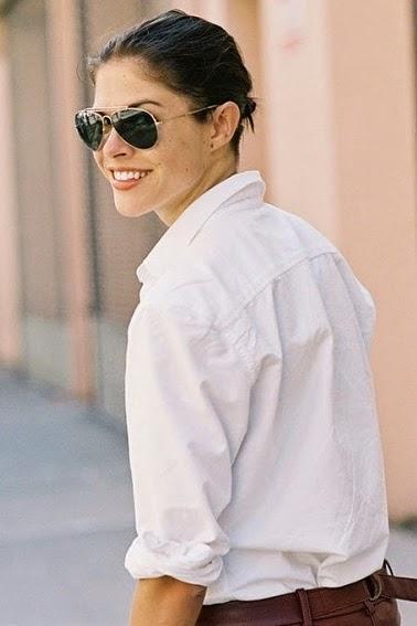 classic white shirt, classic Aviator sunglasses