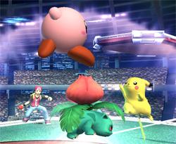 Pokémon Trainer, Kirby, Vulvasaur, Pikachu
