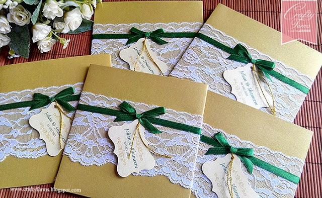 Green and Gold Lace Wedding Card Kuala Lumpur Malaysia