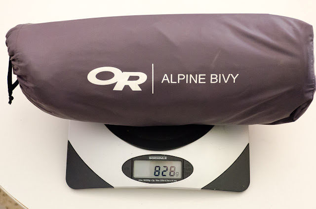 outdoor research alpine bivy bag on kitchen scales