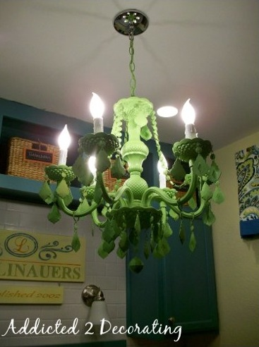 Green painted chandelier