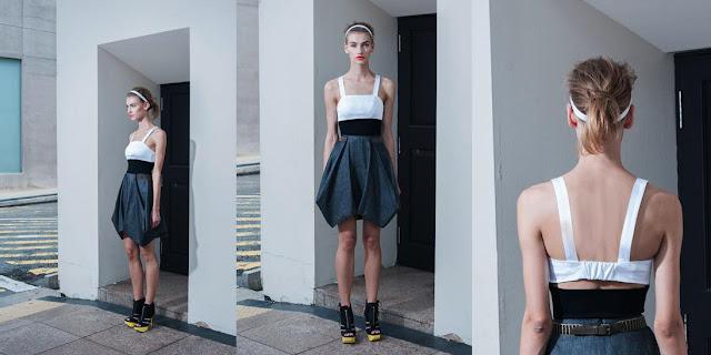 Geometrical dress, grey, black and white