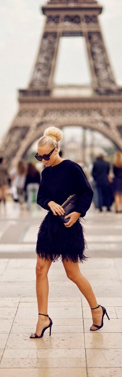 Moda de rua Paris - Street style - Fashion street saia de penas