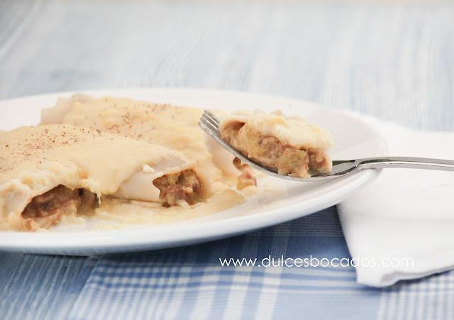 Canelones de pato y foie con bechamel de manzana