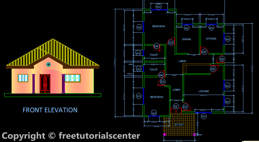 Front Elevation Design In Autocad : Two bed room house design plan section and front elevation