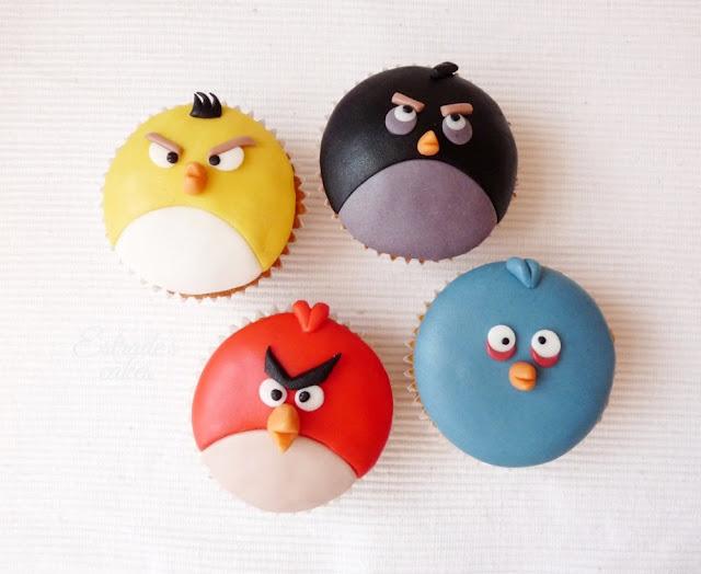 cupcakes de Angry Bird con fondant - 06