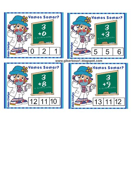 Cartões tabuada divertida ilustrada Patatá