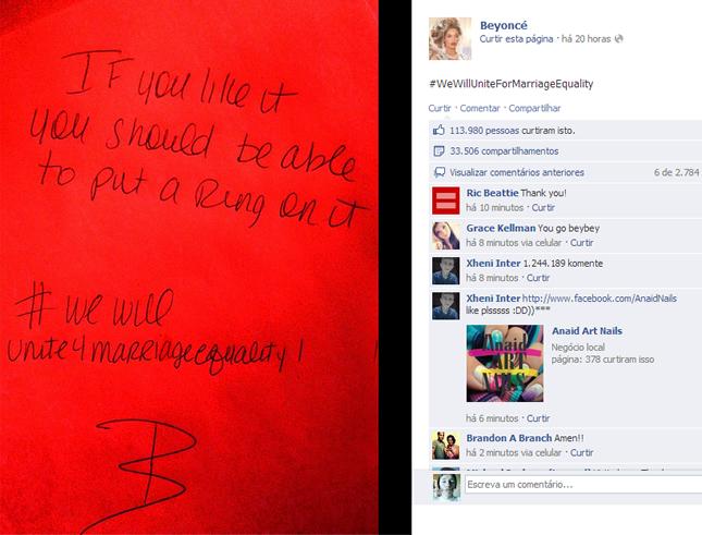 Beyoncé usa trecho de seu hit 'Single Ladies' para fazer uma mensagem a favor da igualdade no casamento (Foto: Reprodução/Facebook)