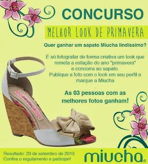 """Concurso Cultural """"Melhor Look de Primavera Miucha"""""""