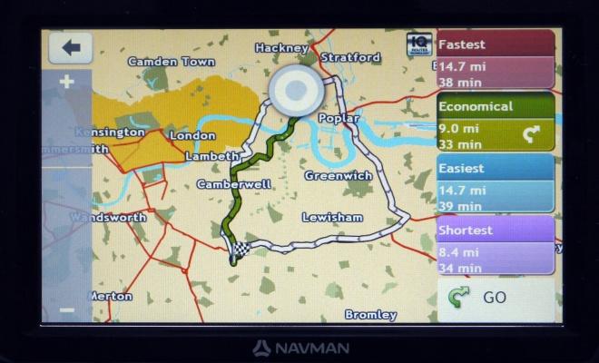 Navman Panoramic route options screen