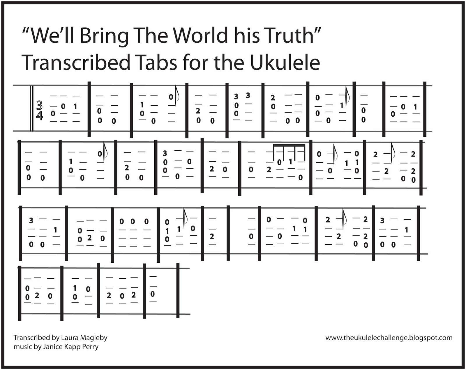 The ukulele challenge january 2016 you are welcome to have this picture of the tabs and print it out to practice this song on your own hexwebz Gallery