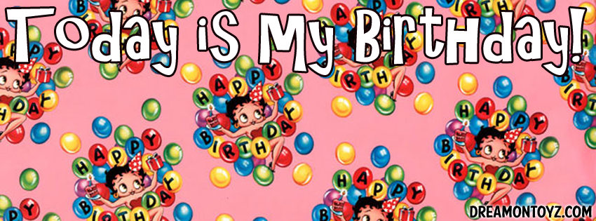Betty boop facebook timeline covers betty boop birthday facebook im the birthday girl betty boop wearing a party hat with balloons cake and present negle Images