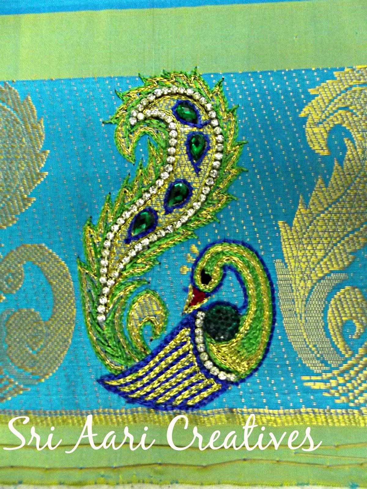Sri aari creatives peacock design work for kids top