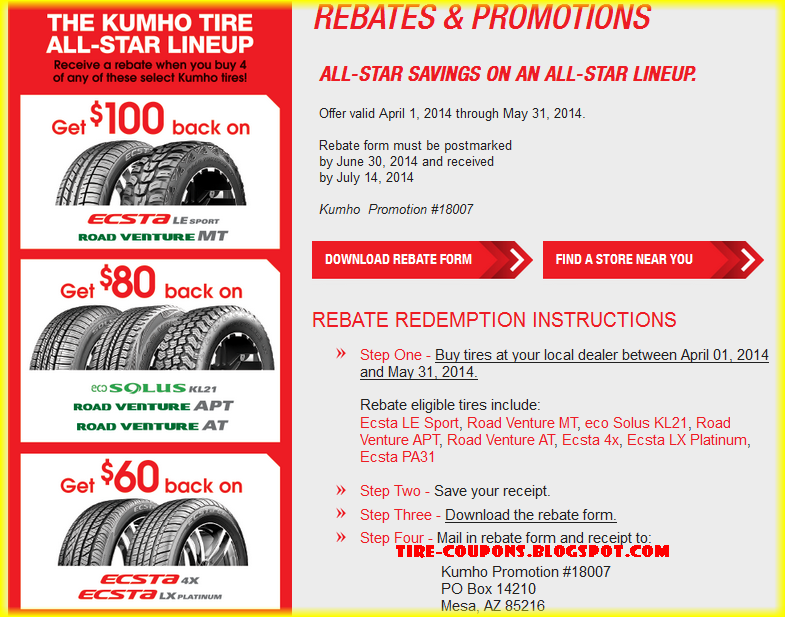 kumho tire coupons 2014