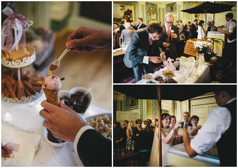 Wedding guests eat ice creams