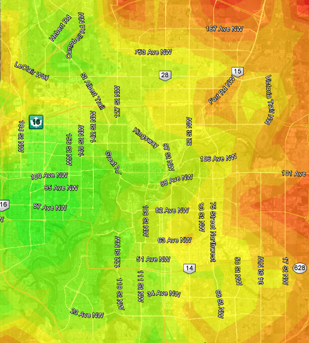Edmonton Transit heat map based on West Edmonton Mall