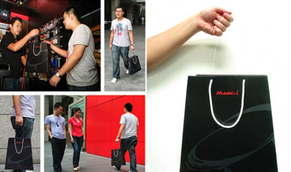 Illusion handles printed on Shopping Bag -  Shopping bag Printing Ideas, Illusion bags printing ideas