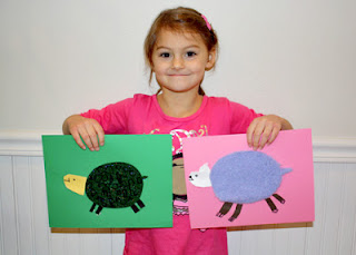 Tessa enjoyed creating her textured turtle so much that she asked to make a second animal. A fluffy piece of purple fleece made her think of a sheep.
