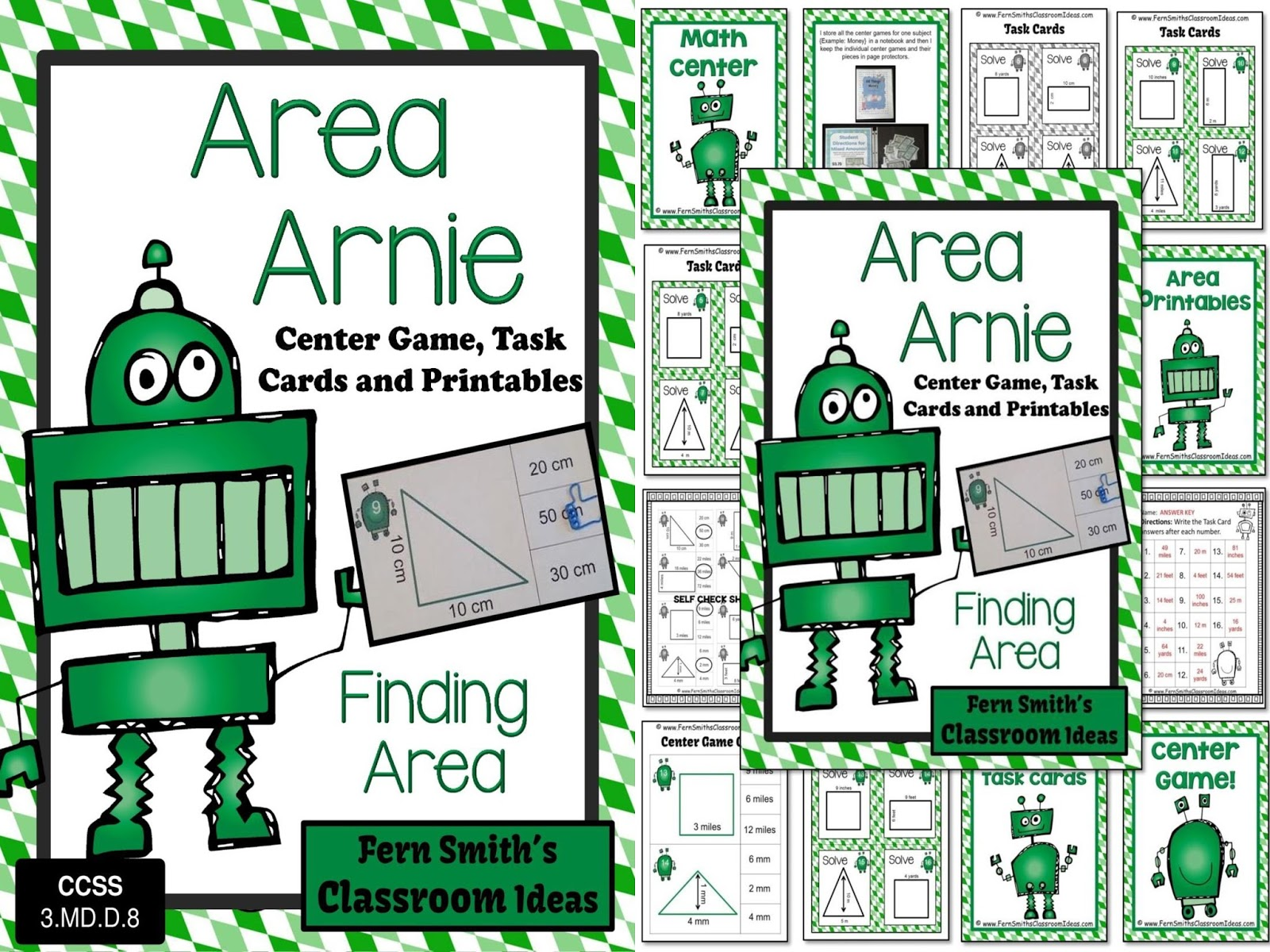 Area Arnie Mega Math Pack - Finding Area Printables, Center Game and Task Cards