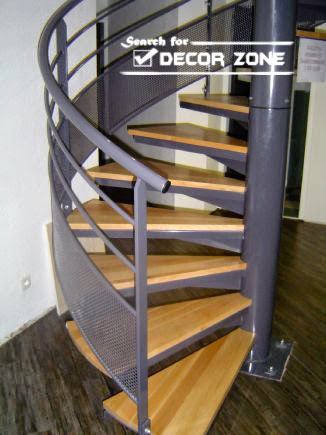 metal spiral stairs with wooden steps for secure climbing