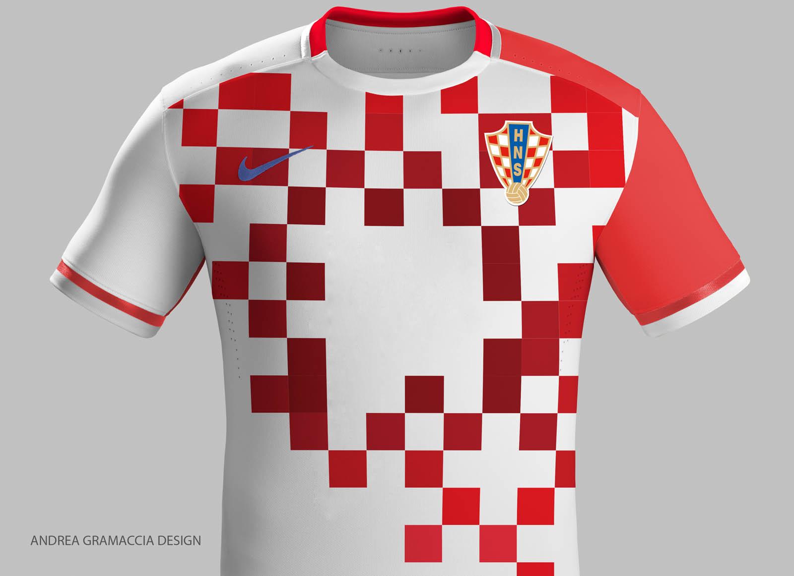 2016 croatia home red jersey shirt nike croatia concept kits by andrea gramaccia footy headli
