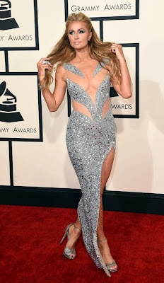 Paris Hilton in Yousef Aljasmi dress at 2015 Grammy Awards red carpet