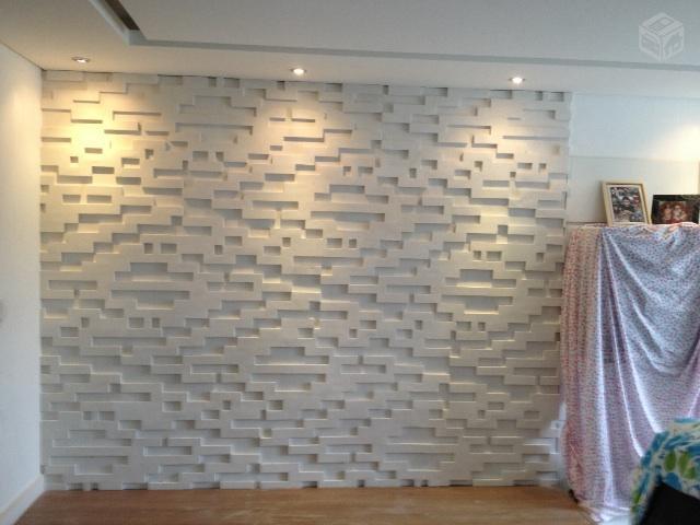 Se virando aos 30 parede de gesso 3d a onda do momento for Placas decorativas paredes interiores