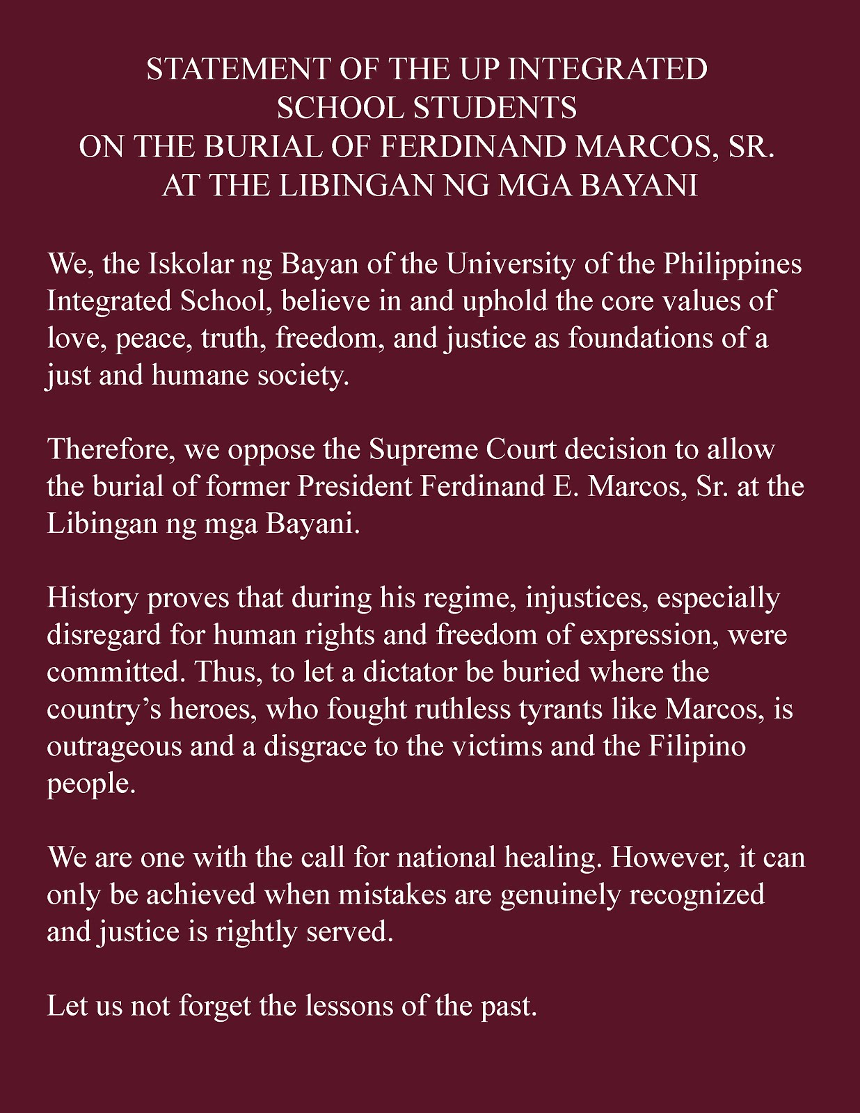 Statement Of The Upis Students On The Burial Of Marcos At The