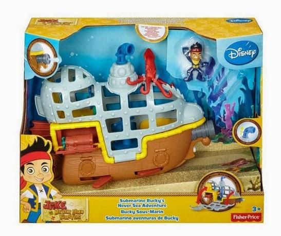 JUGUETES - Fisher-Price : DISNEY Jake y los Piratas  Submarino Aventuras de Bucky  Producto Oficial | Mattel BDJ02 | A partir de 3 años