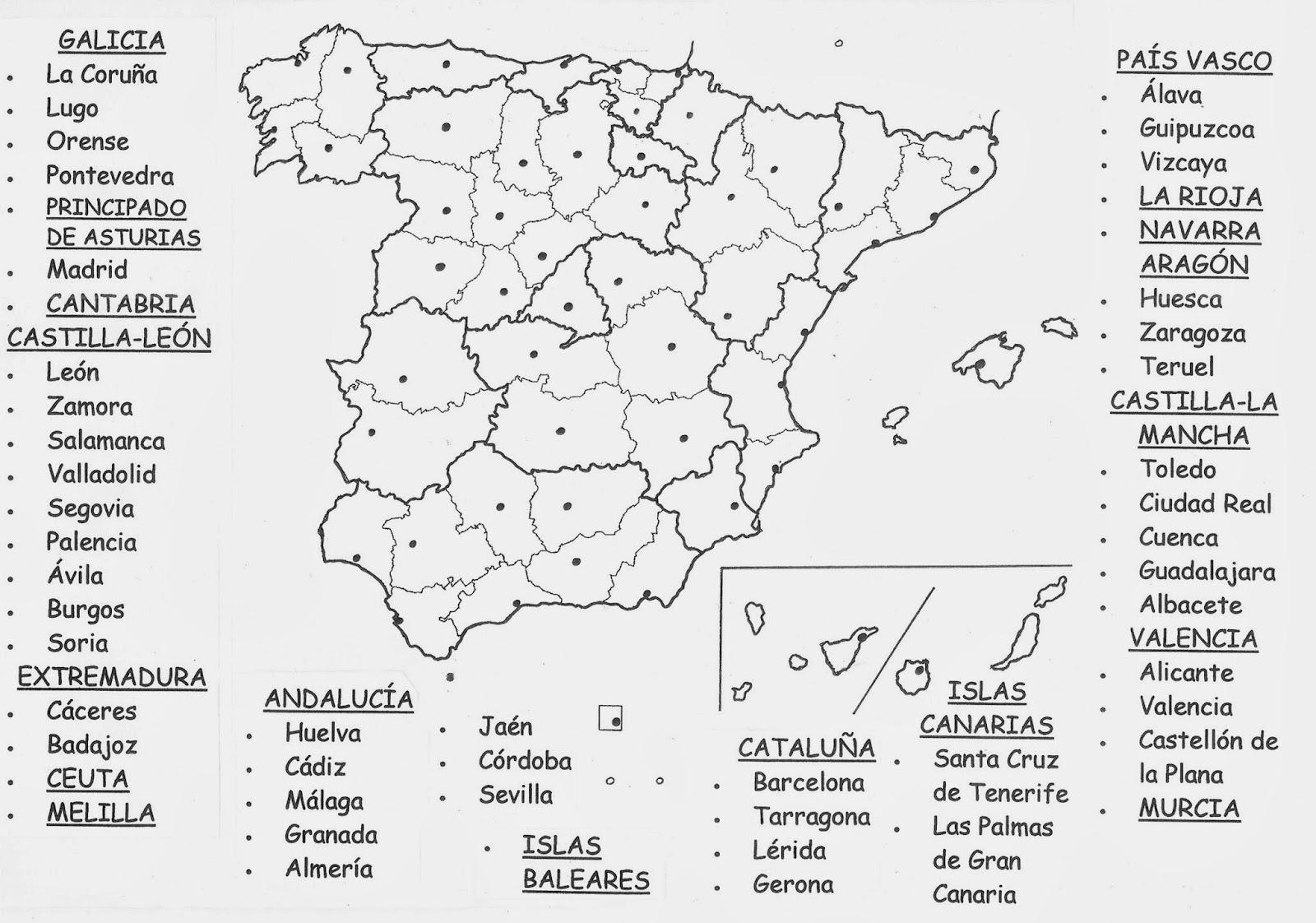 Mapa Mudo De Espaa Y Sus Provincias