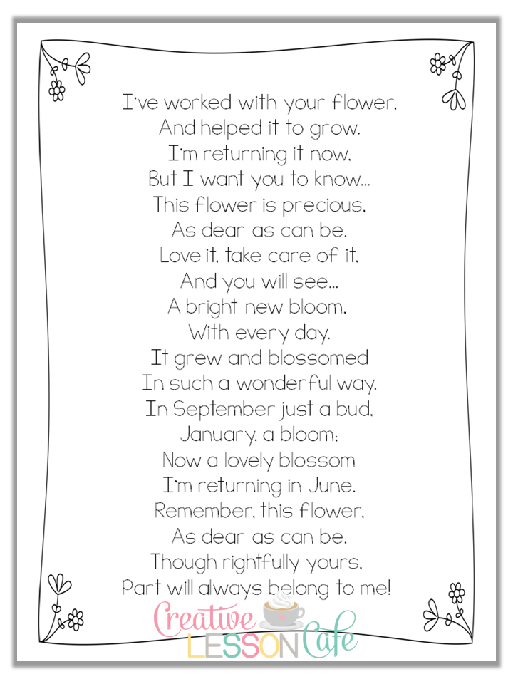 First Grade Gallery- Lessons for Little Learners: Saying Goodbye~End of the Year Poem for ...